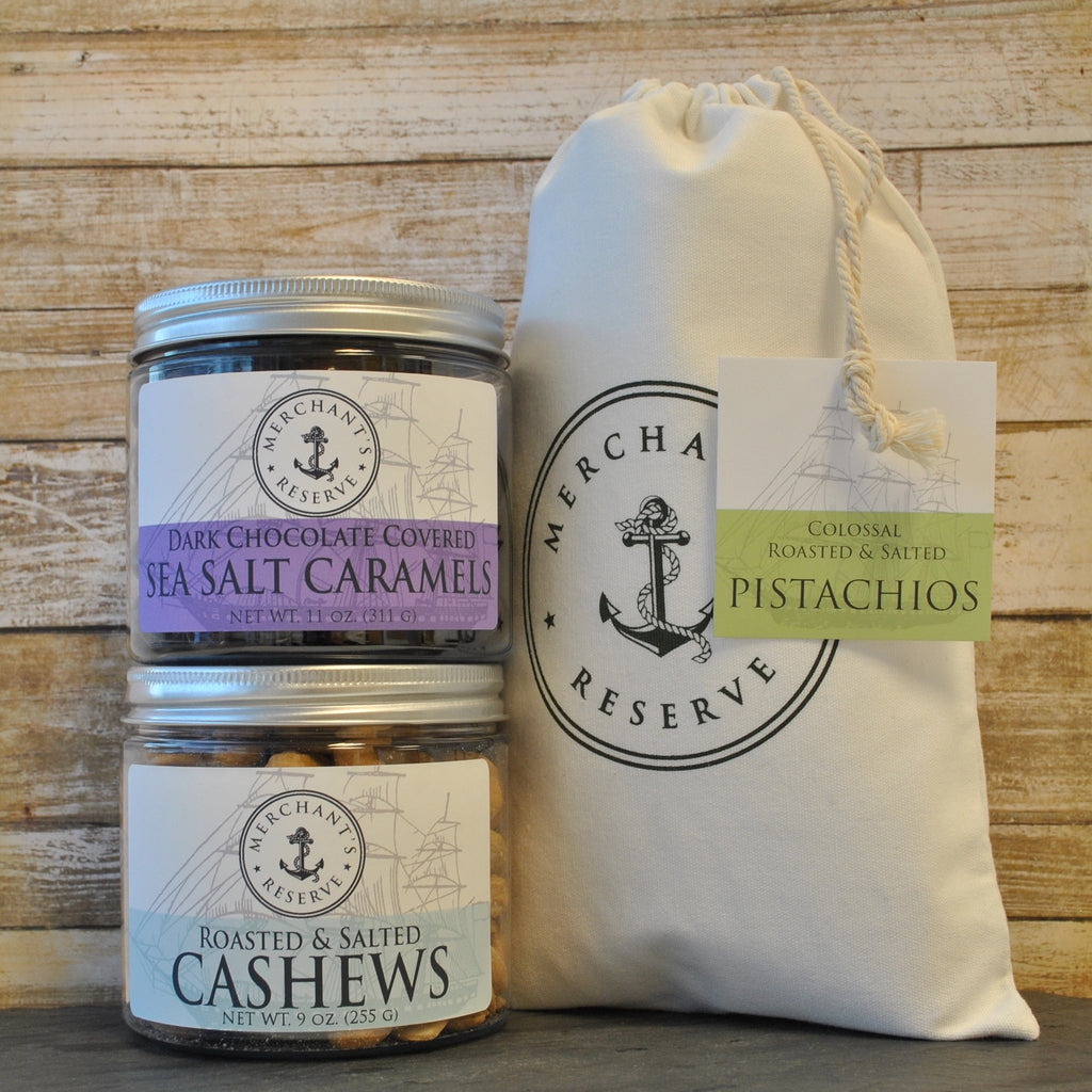 Merchant's Reserve Treasured Trio Gift Set: Colossal Pistachios, Classic Roasted & Salted Jumbo Cashews & Dark Chocolate Sea Salt Caramels