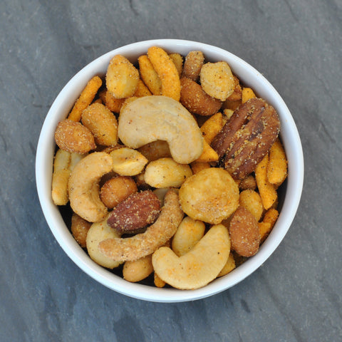 Merchant's Reserve Merchant's Munch Product Detail: Pecans, Peanuts, Cashews, Almonds, Honey Roasted Peanuts, Butter Toffee Peanuts, Sesame Sticks, Spicy Corn and cheddar sticks