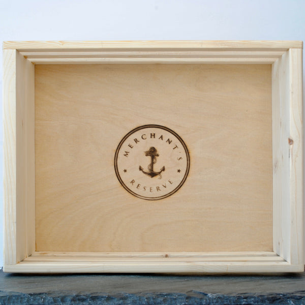 Merchant's Reserve Custom Handmade Wooden Gift Crate with Branded logo