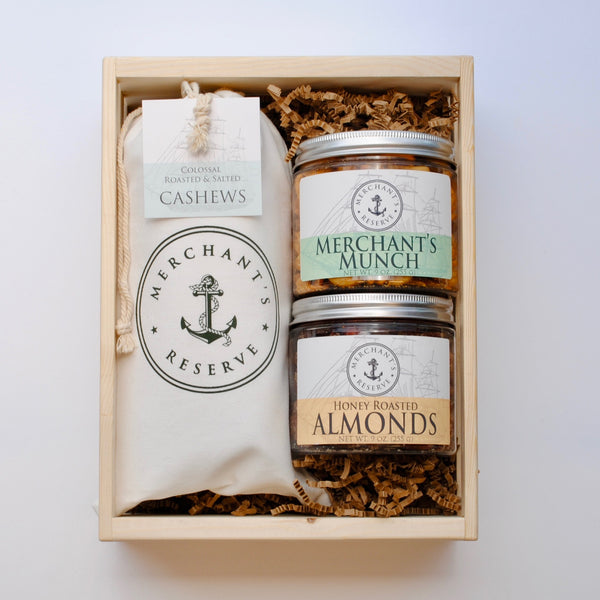 Merchant's Reserve's Customizable Specialty Nut Gift in Handmade Crate 1 lb. Cargo Bag of Jumbo Roasted & Salted Cashews with two gourmet jars of your choice of nuts and flavors