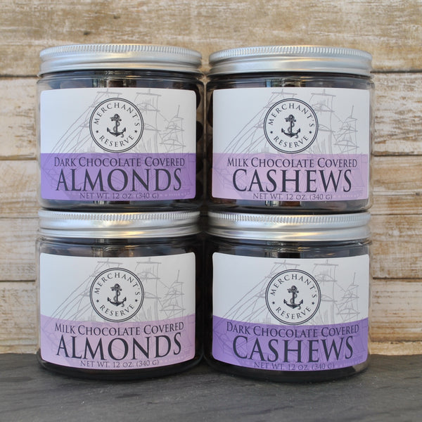 Merchant's Reserve Chocolate Lover's Bundle: 9 oz. Jar of Dark Chocolate Almonds, 9 oz. Jar of Dark Chocolate Cashews, 9 oz. Jar of Milk Chocolate Almonds, 9 oz. jar of Milk chocolate cashews