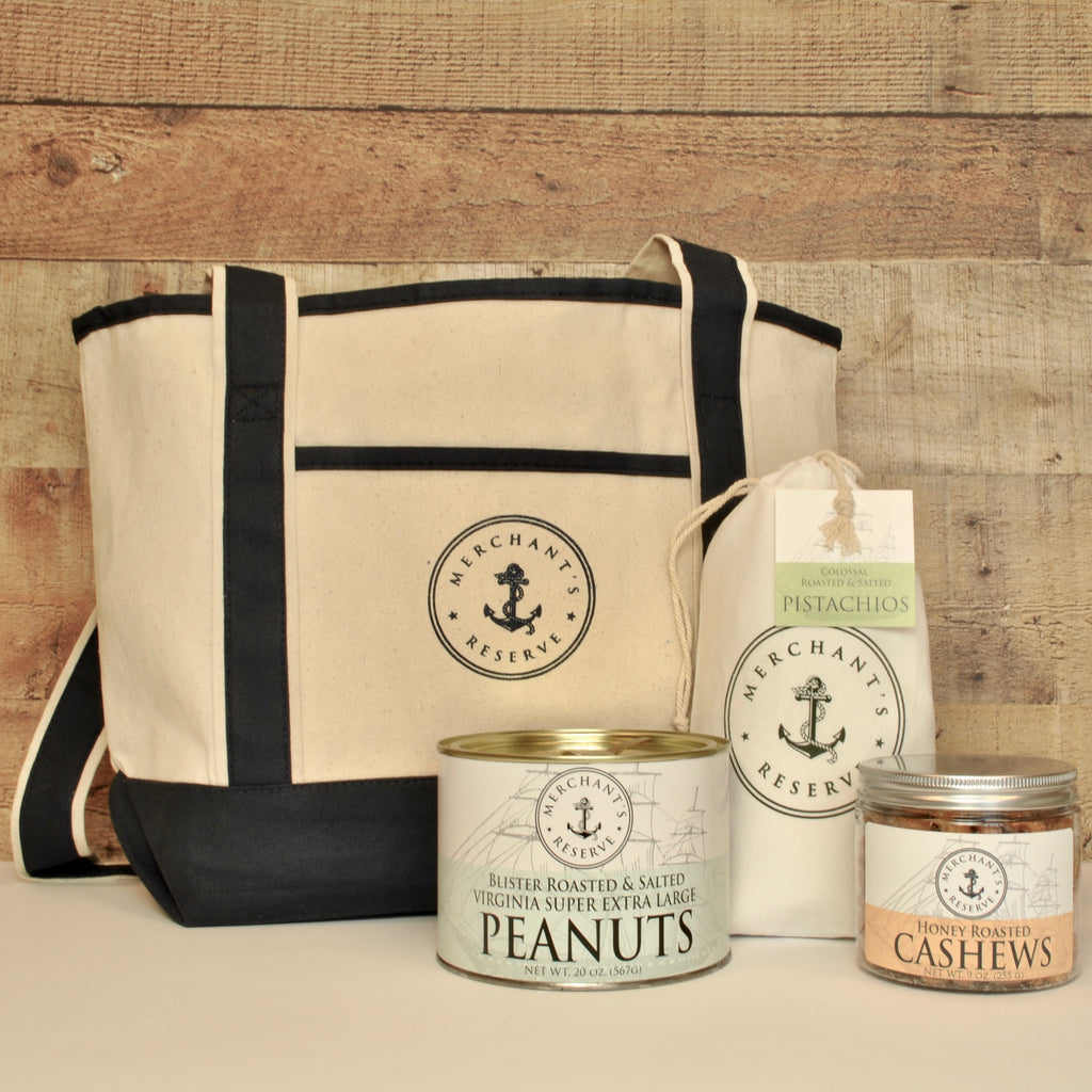 Merchant's Reserve Boat Tote Gift Set Bundle: VA peanuts, pistachios, honey roasted cashews, Merchant's Reserve Canvas Boat Tote
