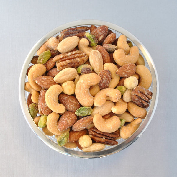 Heart Bowl Gift Basket with Honey Toasted Pecans and Mixed Nuts