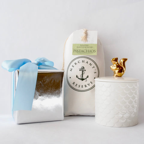 Merchant's Reserve's Lidded Squirrel Jar and Pistachio Gift Set