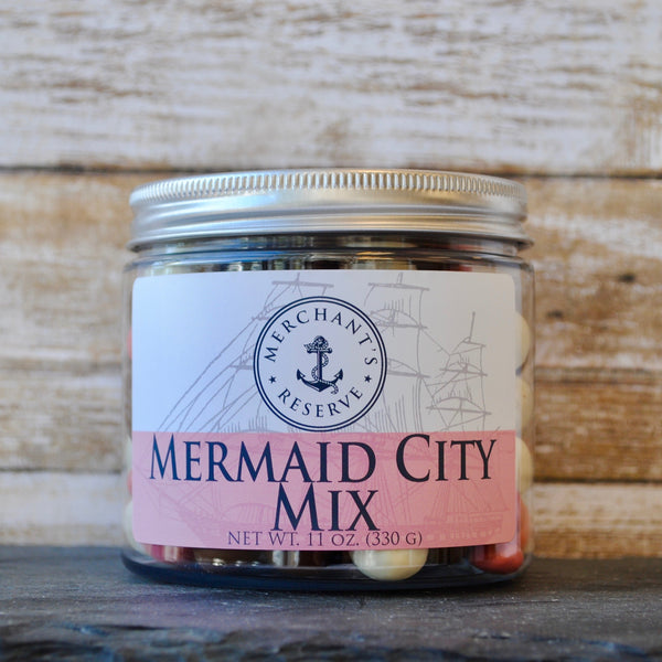 Merchant's Reserve Mermaid City Mix Jar: chocolate covered brownie bits, sweet white yogurt covered pretzels, and strawberry yogurt covered raisins
