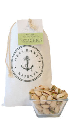 Merchant's Reserve's 1 lb. Cargo Bag of Colossal Roasted & Salted Pistachios with product detail