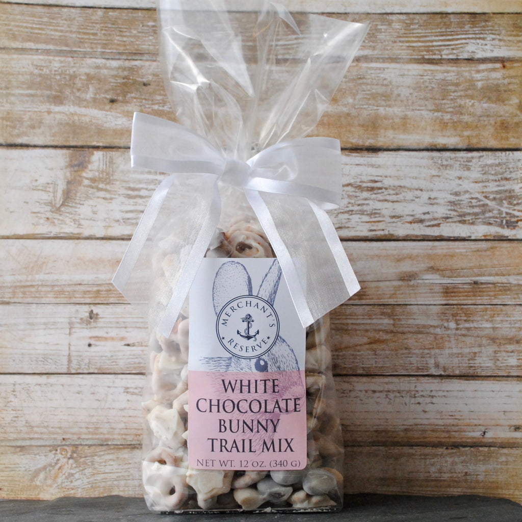 Merchant's Reserve White Chocolate Bunny Trail Mix white chocolate pretzels, white chocolate Chex cereal, white chocolate peanuts, white chocolate cashews