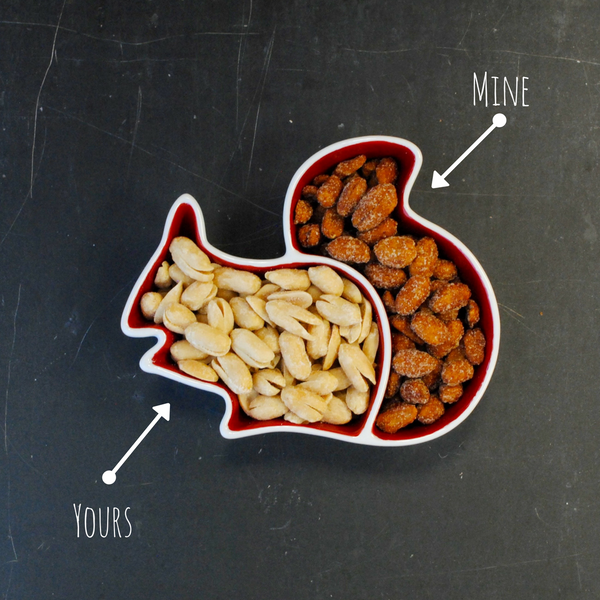 Merchants Reserve Squirrel Divided Snack Dish with Classic and Honey Roasted Virginia Peanuts
