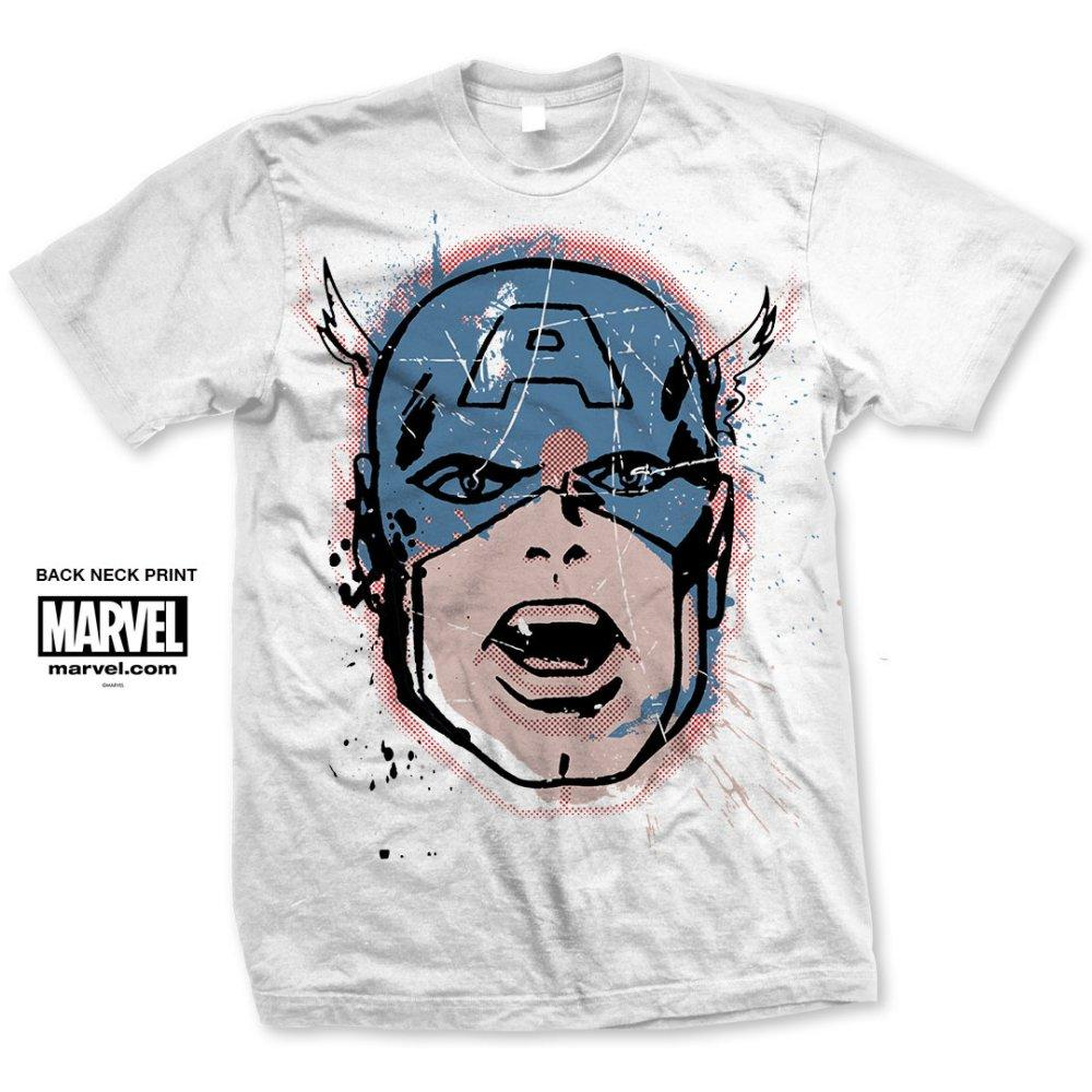 Big Head Distressed T-shirt (Captain America - Marvel)