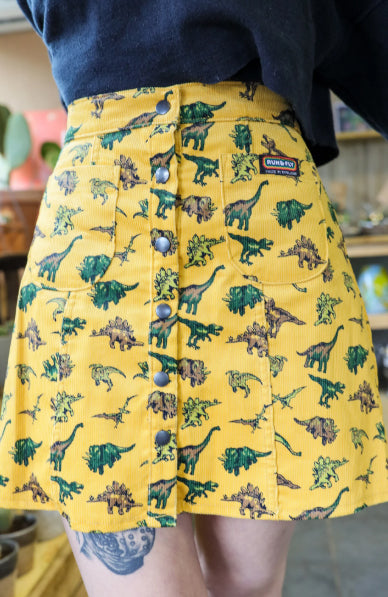 Random Dinosaur Corduroy Skirt ~ Run & Fly