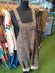 Leopard Stretchy Twill Dungarees + Free Pin ~ Run & Fly