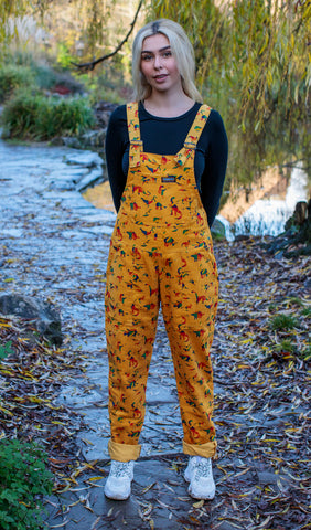 Gold Rainbow Dinosaurs Corduroy Dungarees + Free Pin ~  Run & Fly