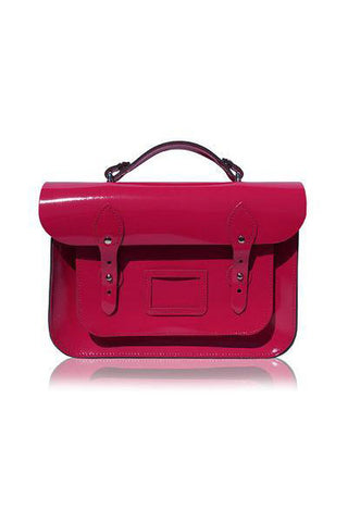Lancelot Knight Leather Harrow Satchel Bag ~ Patent Fushia Pink 13''