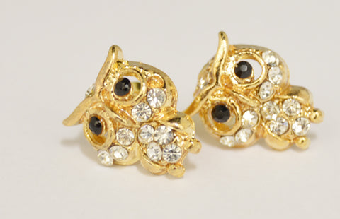 Cute Owl Gem Stud Earrings