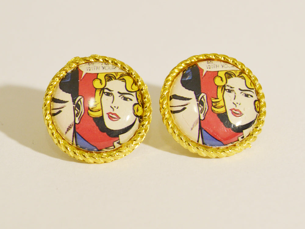 Framed Metal Comic Stud Earrings