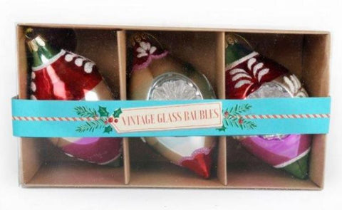 Vintage Style Christmas Glass Finial 3 Baubles Large ~ Temerity Jones