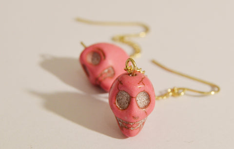 Pink Crowed Skull Earrings