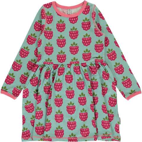 Raspberry Long Sleeved Spin Dress ~ Maxomorra