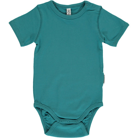 Green Petrol Short Sleeved Bodysuit ~ Maxomorra