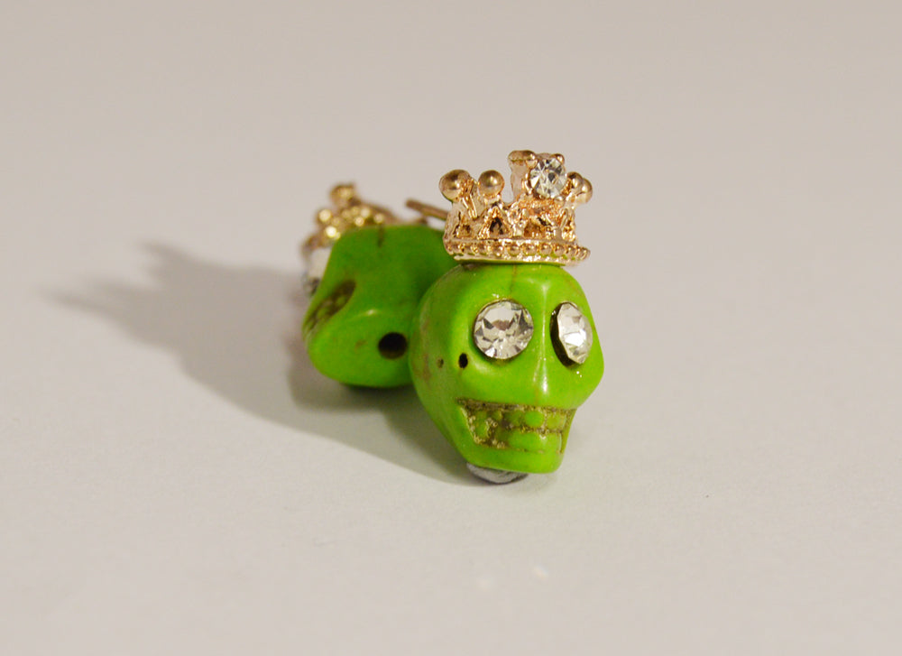 Green Crowned Skull Stud Earrings