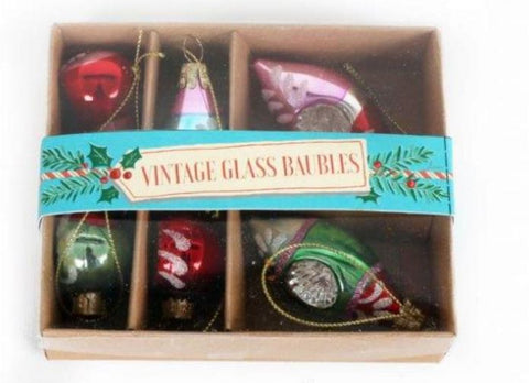 Vintage Style Christmas Glass Mixed Shape 6 Baubles Small ~ Temerity Jones