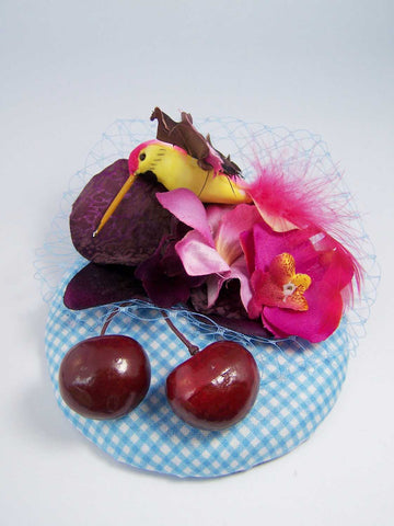 Cherry & Bird Fascinator ~ Diablo Jo