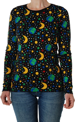 Mother Earth Black Organic Long Sleeved Top ~ Duns Sweden