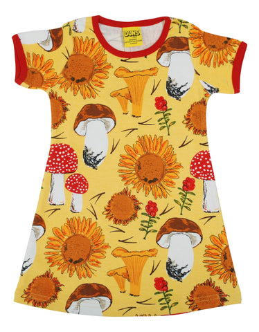 Adult Sunflowers and Mushrooms Short Sleeved Dress ~ Duns Sweden