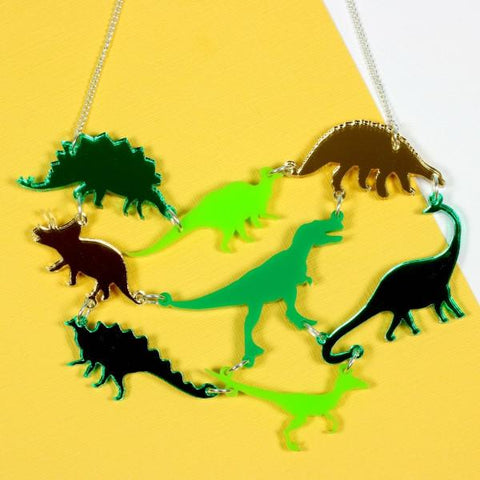 Green Dinosaur Gang Acrylic Necklace ~ Punky Pins
