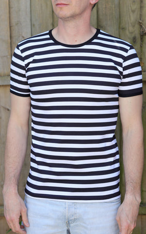 Black & White Stripe Short Sleeve T-Shirt ~ Run & Fly
