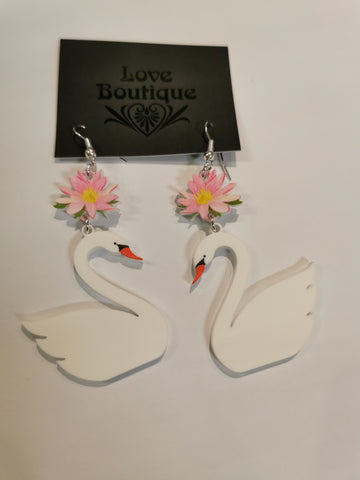 Swan Earrings - Love Boutique