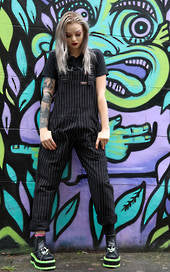 Black and White Pin Stripe Dungarees + Free Pin ~ Run & Fly