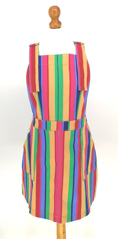 Stripe [Rainbow] Stretchy Twill Pinafore Dress + Free Pin ~  Run & Fly