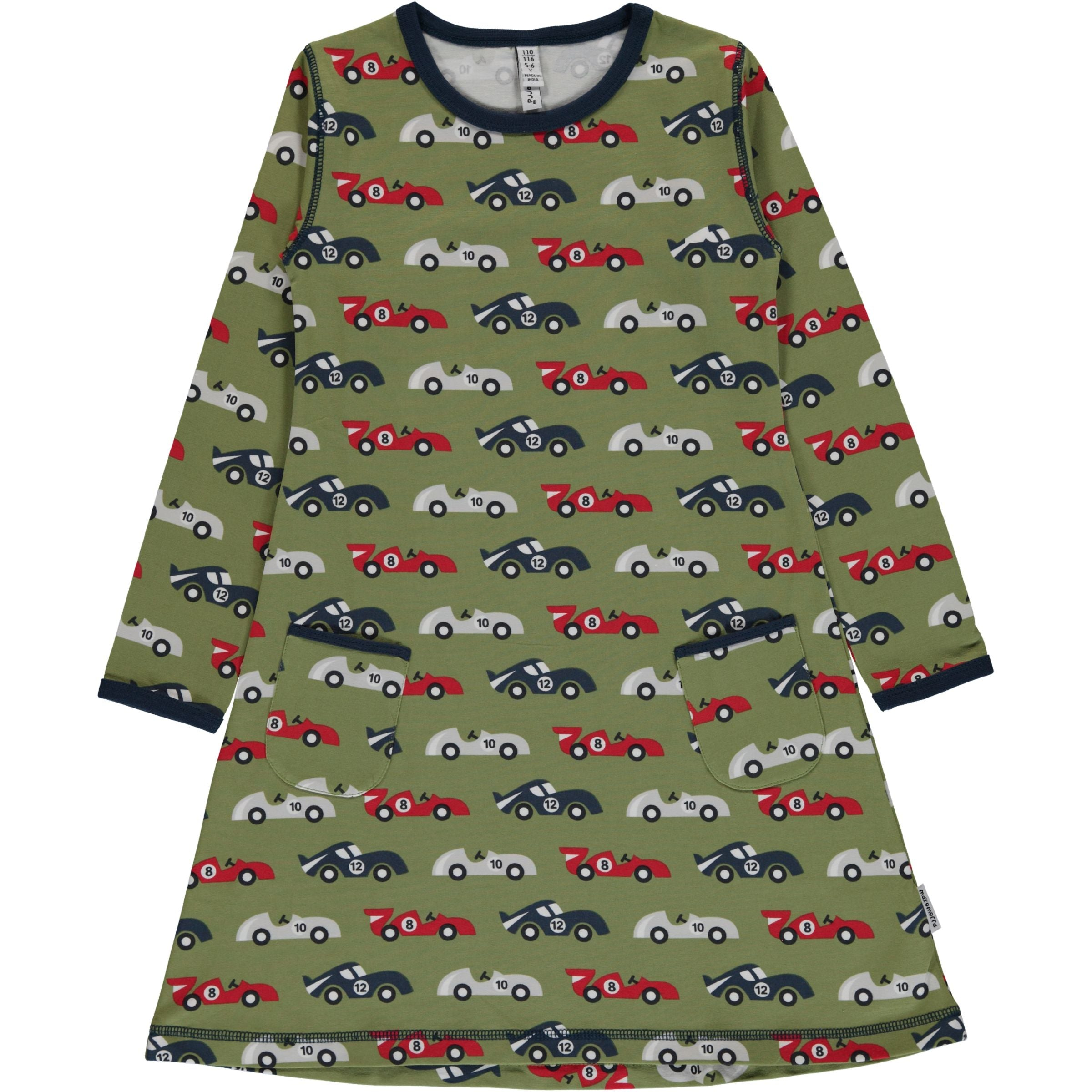 Race Car Long Sleeved Dress ~ Maxomorra