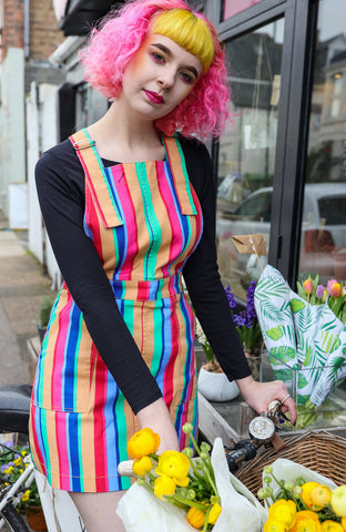 Stripe Pinafore [Rainbow] Stretchy Twill Dress + Free Pin ~  Run & Fly