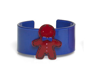 Gingerbread Man Acrylic Cuff Bracelet ~ No Tail : Blue/Red