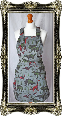 Adventure Dino Pinafore Dress Corduroy Grey Free Dino Pin ~ Run & Fly