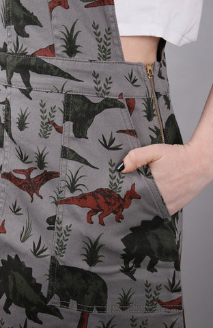 Adventure Dino Pinafore Dress [stretchy twill] + Free Enamel Pin ~ Run & Fly
