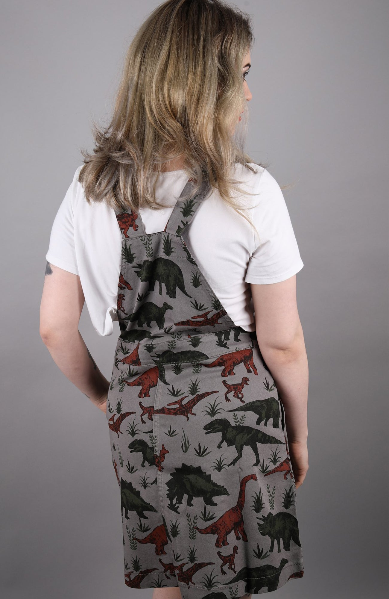 Dinosaur Adventure Pinafore Dress [stretchy twill] + Free Enamel Pin ~ Run & Fly