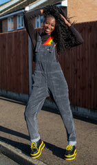 Washed Black Stretchy Corduroy Dungarees + Free Enamel Pin ~ Run & Fly