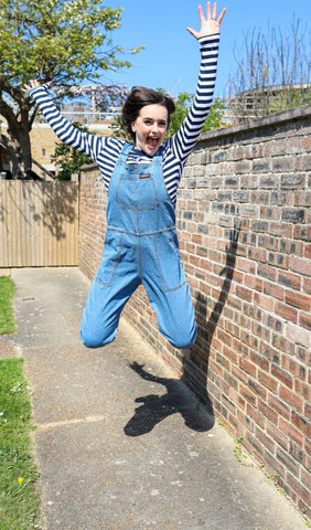 Retro Stone Wash Blue Denim [non stretch twill] Baggy Dungarees ~ Run & Fly