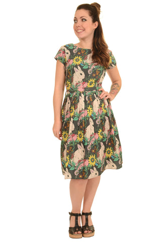 Floral Bunny Rabbit Tea Dress ~ Run & Fly