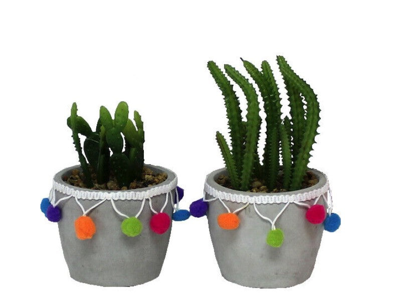 Faux [Fake] Cactus With Pompom Plant Pot
