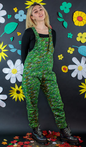 Green Dino Camo Dungarees [stretchy twill] + Free Enamel Pin ~ Run & Fly