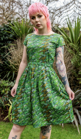 Camo Dino Tea Party Dress  With Pockets ~ Run & Fly