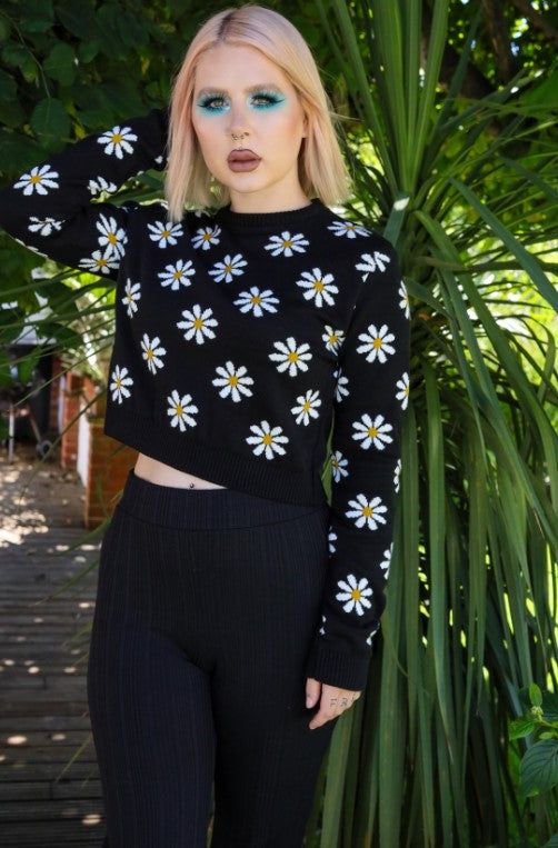 Daisy Cropped Knitted Jumper - Run & Fly