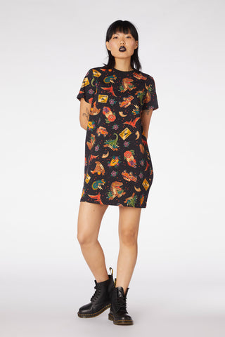 Prehistoric Tattoo Tee Dress - Dangerfield