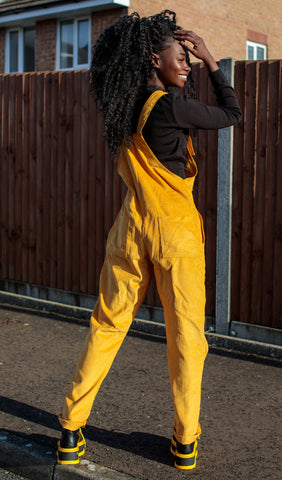 Yellow [Gold] Corduroy Dungarees + Free Pin ~ Run & Fly