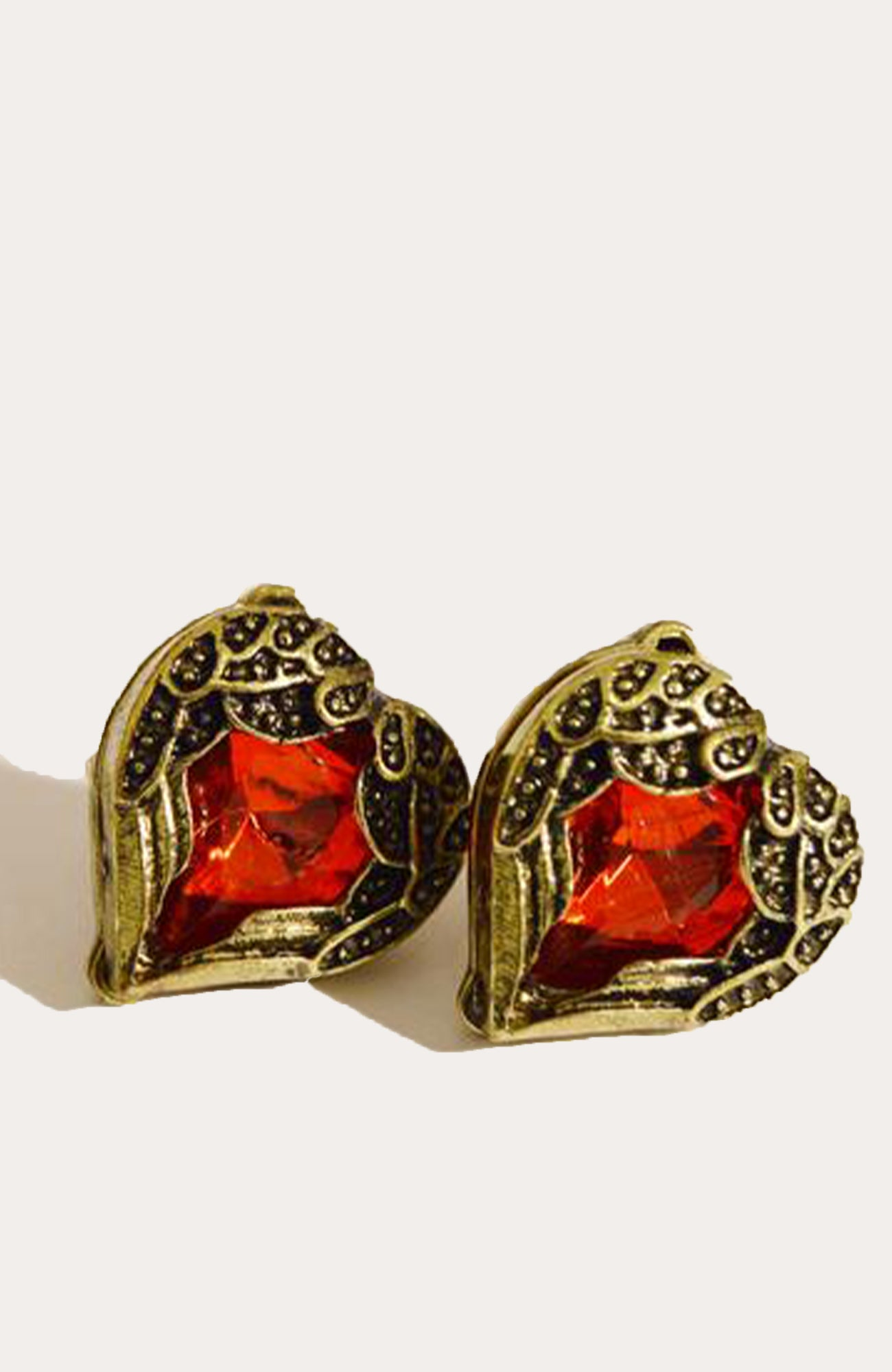 Metal Heart With Red Jem Stud Earrings