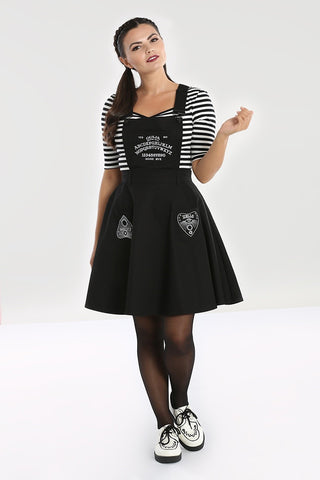 Samara Ouija Black Pinafore Dress ~ Hell Bunny
